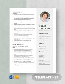 Management Accounting Resume Template