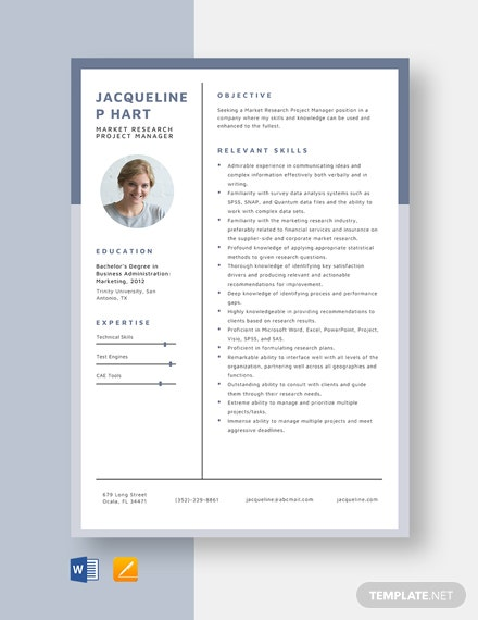 Market Research Project Manager Resume Template