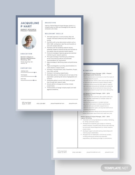 Market Research Project Manager Resume download