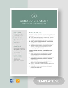 Marketing and Sales Coordinator Resume Template