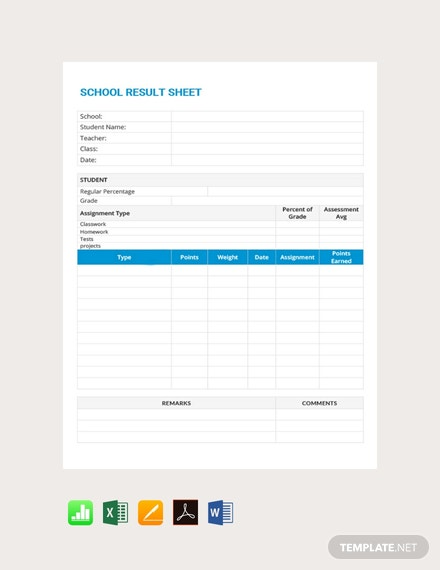 Free School Result Grade Sheet Template
