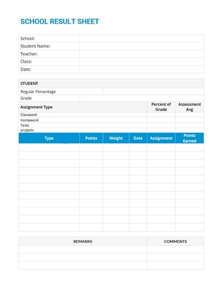 School Result Grade Sheet Template