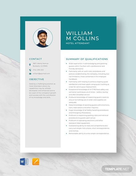 Hotel Attendant Resume Template