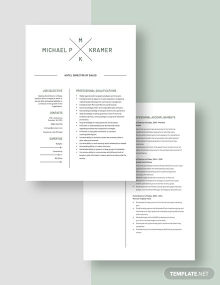 Hotel Director of Sales Resume Download