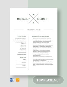 Hotel Director of Sales Resume Template