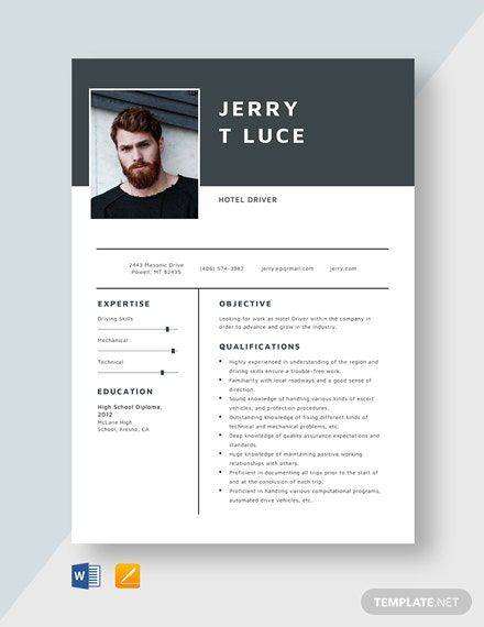 Hotel Driver Resume Template