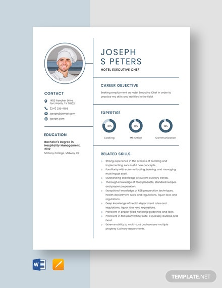 Hotel Executive Chef Resume Template
