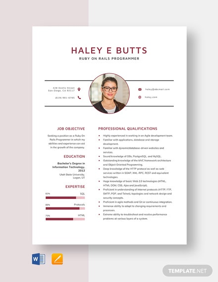 Ruby On Rails Programmer Resume Template
