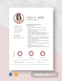 Showroom Assistant Resume Template