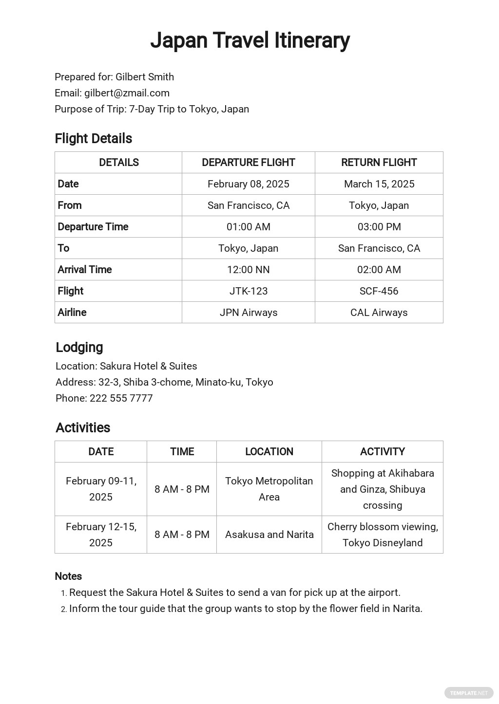 Free Sample Itinerary Template.jpe