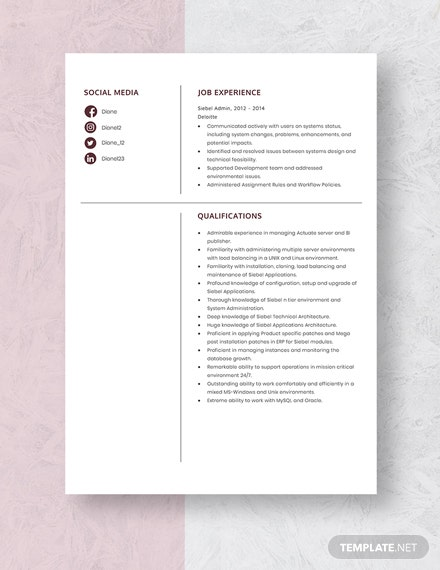 Siebel Admin Resume Template