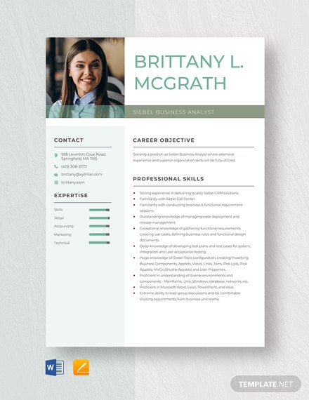 Siebel Business Analyst Resume Template