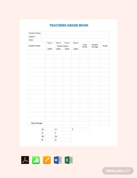 Free Teacher Grade Sheet Template