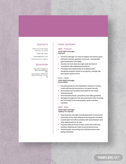 Hotel Night Manager Resume Template