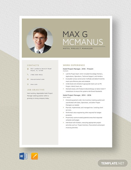 Hotel Project Manager Resume