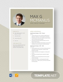 Hotel Project Manager Resume Template