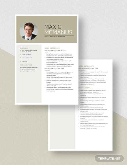 Hotel Project Manager Resume Download