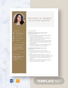 Hotel Restaurant Management Resume Template