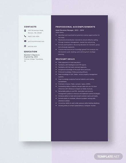 Hotel Revenue Manager Resume Template