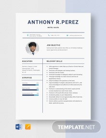Hotel Sales Resume Template