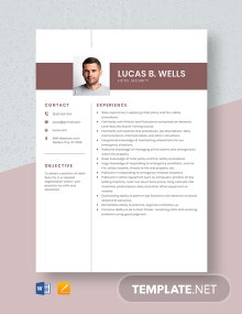 Hotel Security Resume Template
