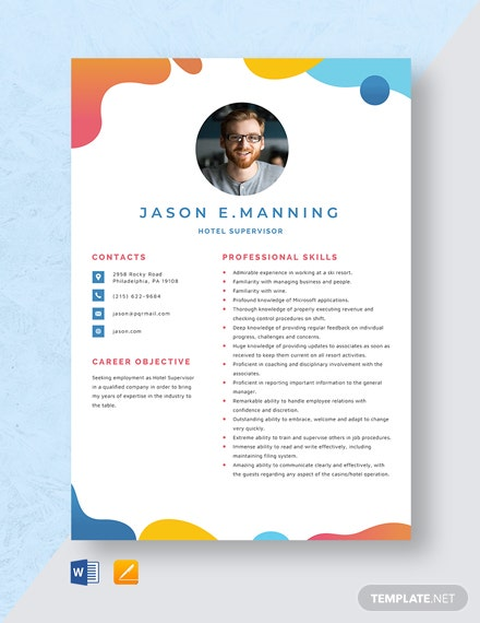 Hotel Supervisor Resume Template