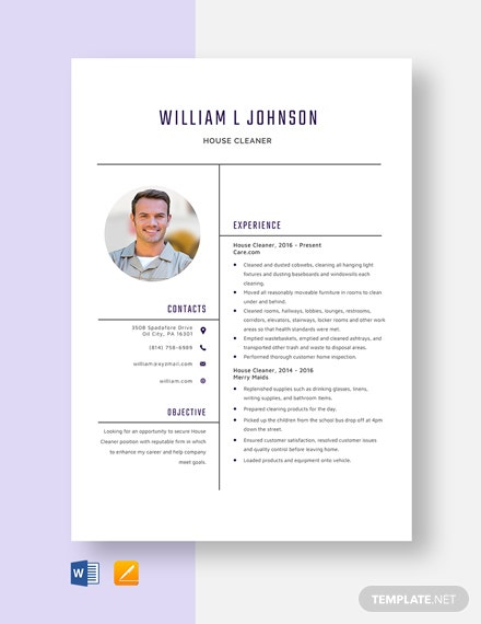 House Cleaner Resume Template