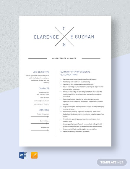 Housekeeper Manager Resume Template