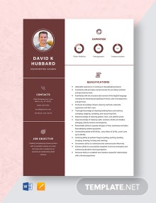 Housekeeping Cleaner Resume Template