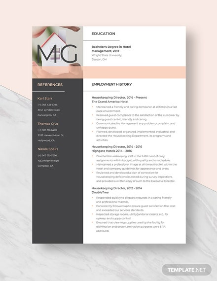 Housekeeping Director Resume Template