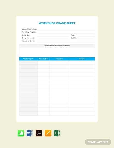 Free Workshop Grade Sheet Template