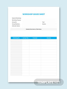 Workshop Grade Sheet Template