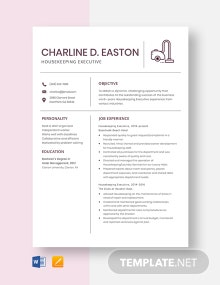 Housekeeping Executive Resume Template