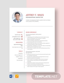 Housekeeping Inspector Resume Template