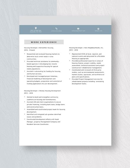 Housing Developer Resume Template