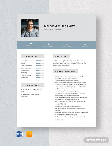 Housing Developer Resume Template