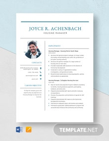 Housing Manager Resume Template