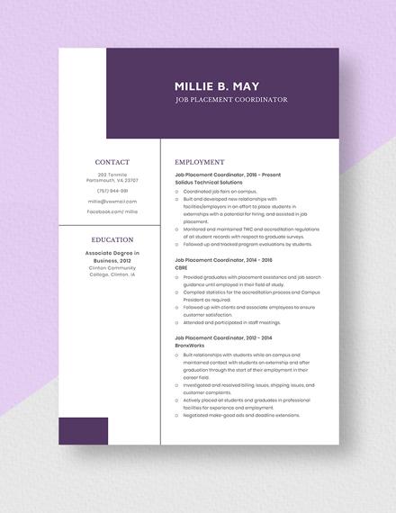 Job Placement Coordinator Resume Template