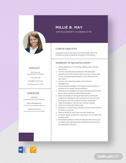 Job Placement Coordinator Resume Template