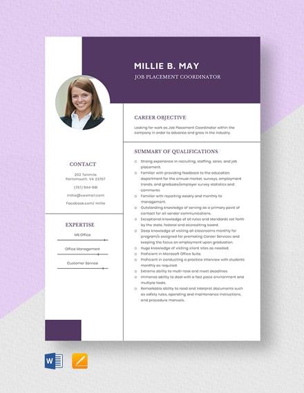 Job Placement Coordinator Resume