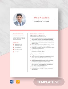 Jr Project Manager Resume Template