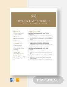 Key Account Relationship Manager Resume Template