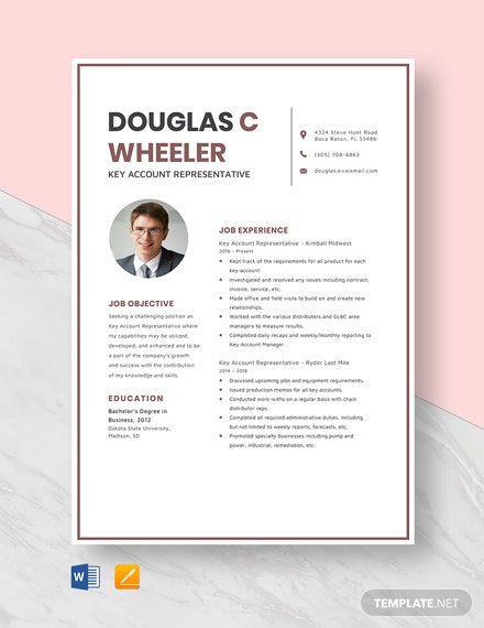 Key Account Representative Resume Template