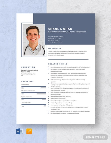 Laboratory Animal Facility Supervisor Resume Template