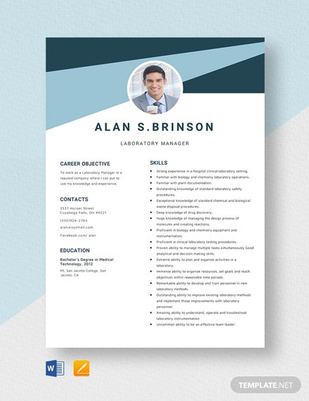 Laboratory Manager Resume Template
