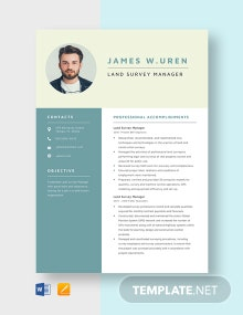 Land Survey Manager Resume Template