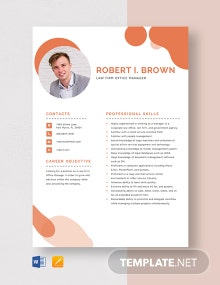 Law Firm Office Manager Resume Template