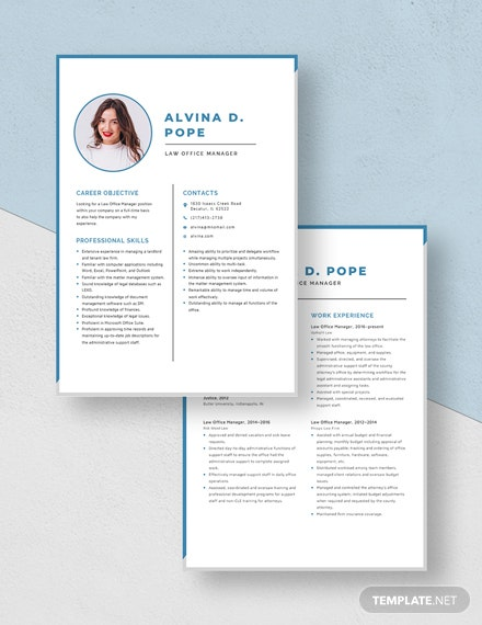 Law Office Manager Resume Download