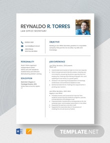 Law Office Secretary Resume Template