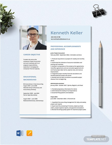 Project Account Resume Template